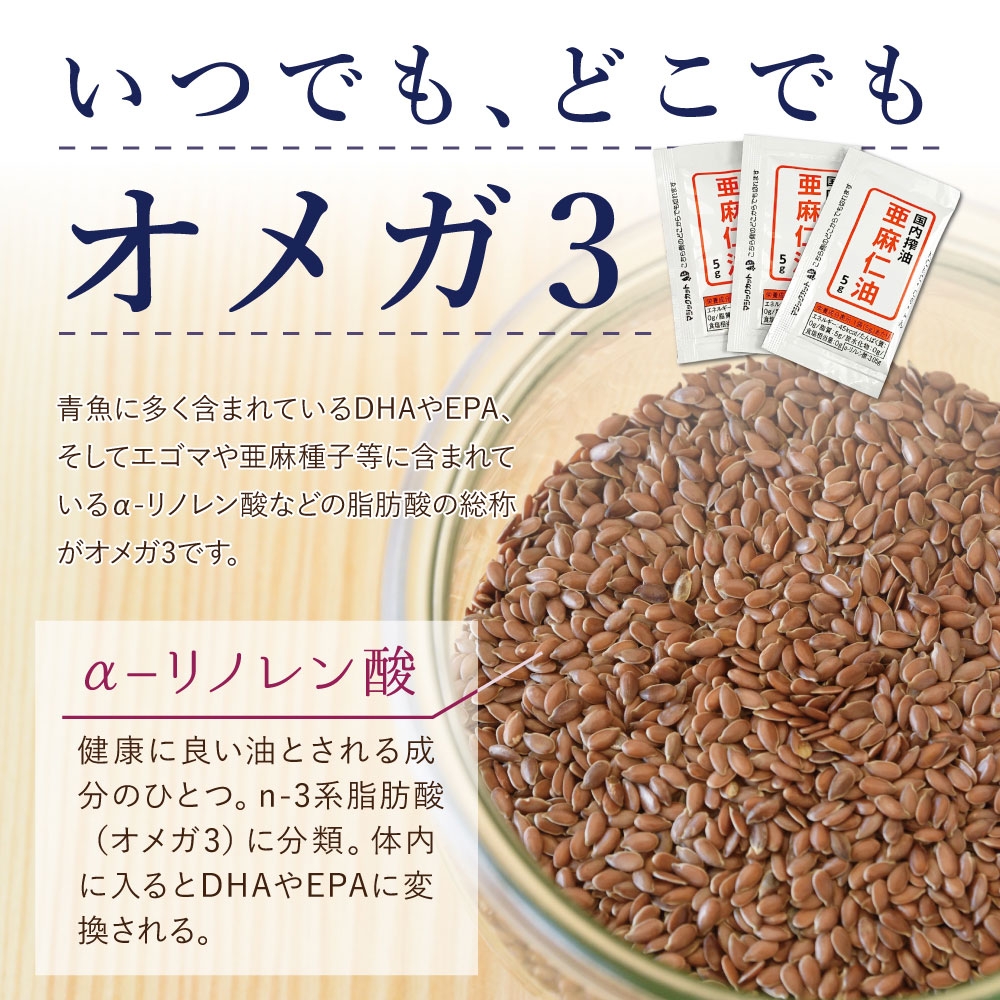 青魚に多く含まれているDHAやEPA、そしてエゴマや亜麻種子等に含まれているα-リノレン酸などの脂肪酸の総称がオメガ3です。健康に良い油とされる成分のひとつ。n-3系脂肪酸(オメガ3)に分類。亜麻仁油の人気の秘密。健康に良い油とされる成分のひとつ。n-3系脂肪酸(オメガ3)に分類。体内に入るとDHAやEPAに変換される。